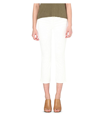 J BRAND Selena cropped bootcut mid-rise jeans (Blanc