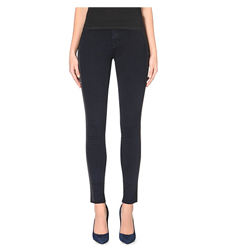 J BRAND Tuxedo-stripe skinny mid-rise stretch-denim jeans (Blue black