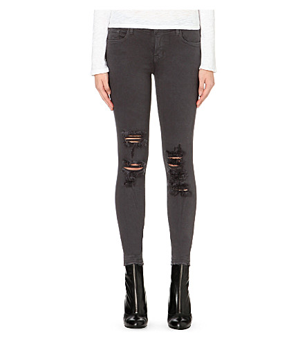 J BRAND Skinny cropped low-rise jeans (Demented+grey