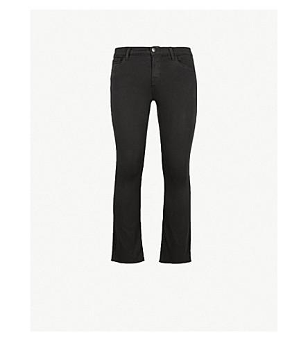 J BRAND Selena frayed-hem mid-rise cropped boot-cut jeans (Black+bastille