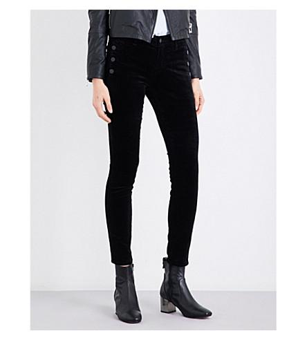 J BRAND Zion skinny mid-rise velvet jeans (Black