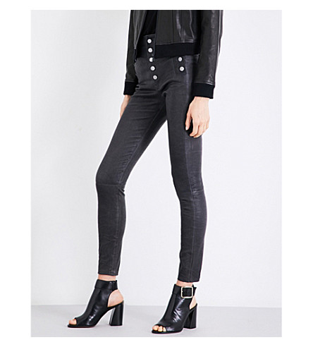J BRAND Natasha skinny high-rise leather trousers (Dark+platnium
