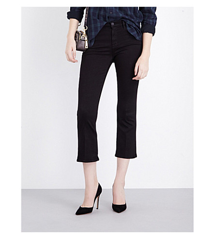 J BRAND Selena bootcut cropped mid-rise jeans (Black
