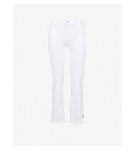 J BRAND Selena mid-rise cropped boot-cut jeans (Chalk