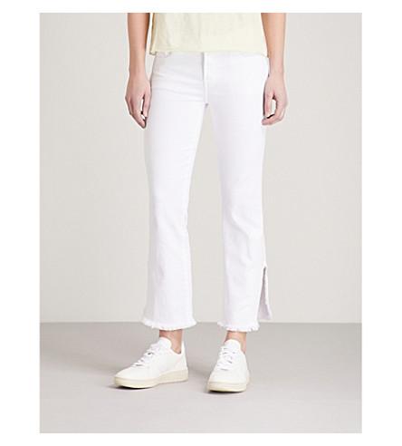 J BRAND Selena frayed-hem straight mid-rise jeans (Chalk