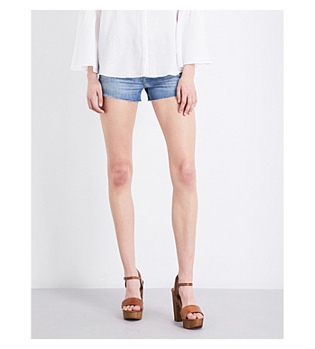 J BRAND 1044 frayed-hem mid-rise denim shorts (Adventure