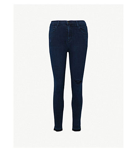J BRAND Alana released-hem skinny high-rise jeans (Invoke+destruct