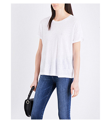 J BRAND Signature linen-jersey T-shirt (White