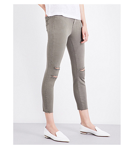 J BRAND Alana distressed skinny high-rise jeans (Castory+grey