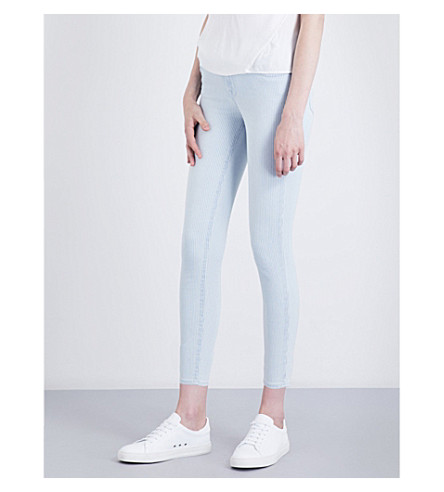 J BRAND 835 striped skinny mid-rise jeans (Bleached+stripe