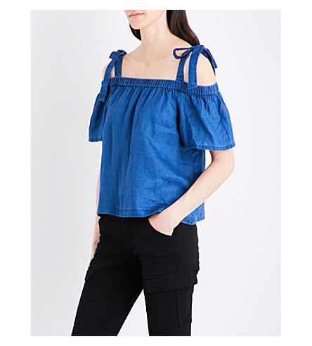 J BRAND FASHION Evonie cold shoulder linen top (High+seas