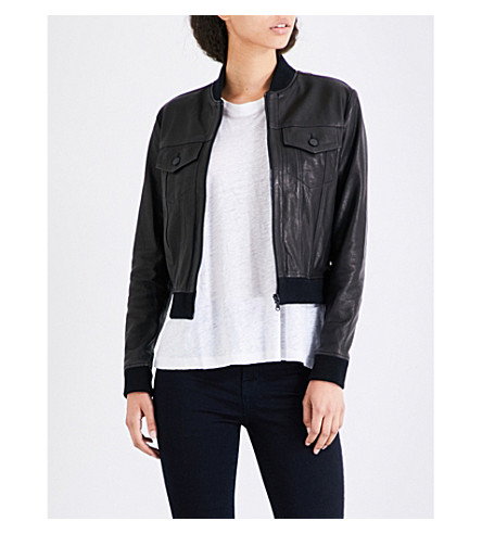 J BRAND FASHION Harlow leather bomber jacket (Black