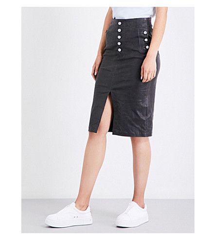 J BRAND FASHION Natasha high-rise leather skirt (Dark+platnium