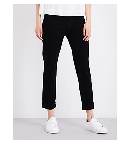 J BRAND Johnny boyfriend-fit straight mid-rise jeans (Pitch+black