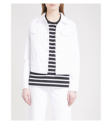J BRAND FASHION Slim distressed denim jacket (Optic+white