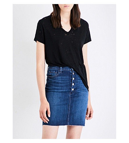 J BRAND Janis jersey and linen-blend T-shirt (Black