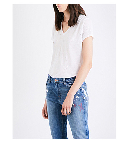 J BRAND Janis jersey and linen-blend T-shirt (White