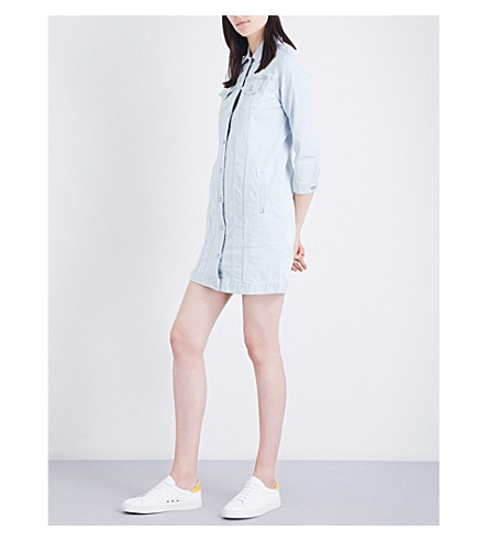 J BRAND FASHION Striped denim jacket dress (Bleached+stripe