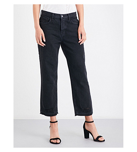 J BRAND Ivy distressed straight high-rise jeans (Double+cross