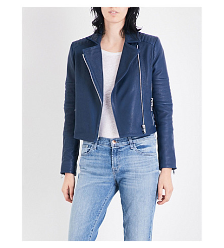 J BRAND FASHION Aiah leather biker jacket (Sea tangle