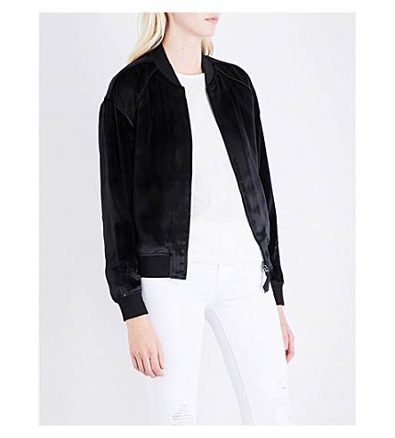 J BRAND FASHION Pace velvet bomber jacket (Black