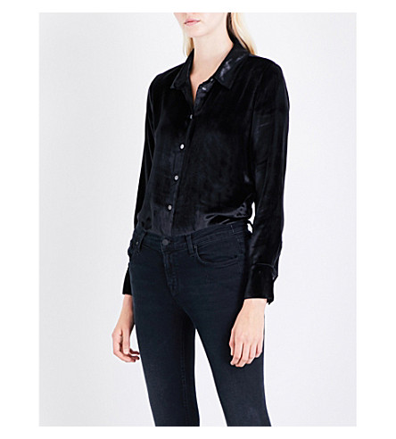 J BRAND FASHION Nora relaxed-fit velvet shirt (Black