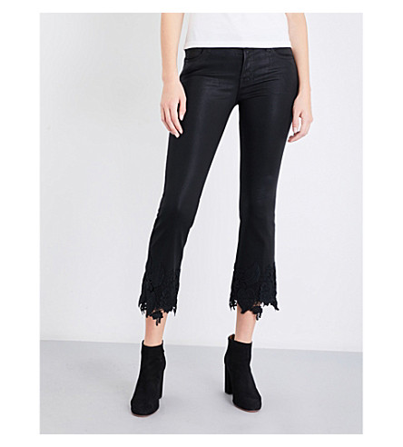 J BRAND Selena bootcut mid-rise jeans (Coated+black+lace