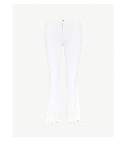 J BRAND Selena bootcut mid-rise coated jeans (White+lace