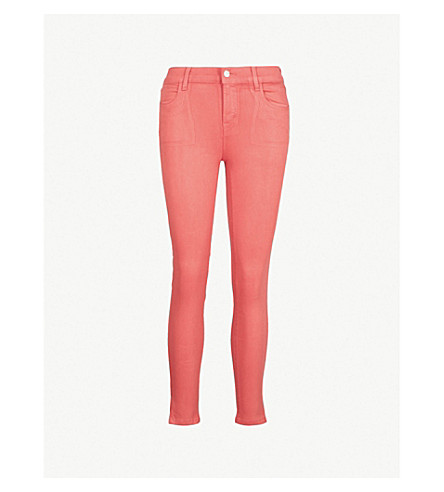 J BRAND Alana coated skinny cropped high-rise jeans (Coated+rose+tea