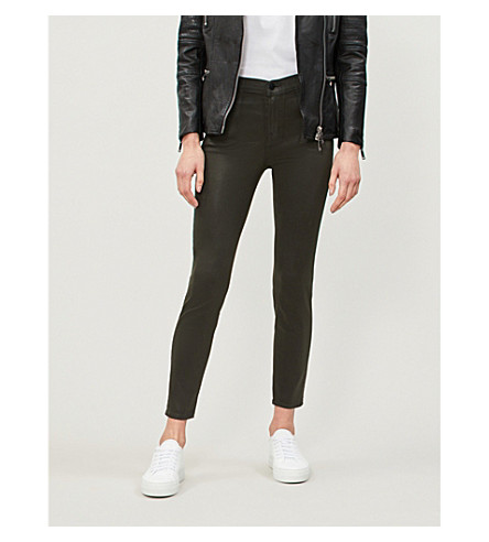 J BRAND Alana coated skinny high-rise jeans (Coated+ivy+vine