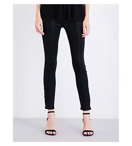 J BRAND 811 side-split skinny mid-rise leather jeans (Coated+black+lace