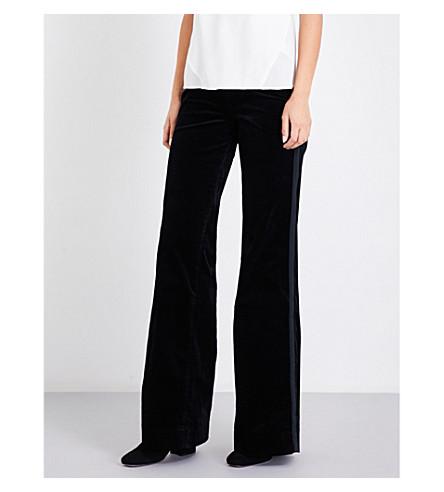 J BRAND Isabella flared high-rise velvet jeans (Black