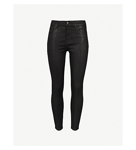 J BRAND Alana coated skinny cropped high-rise jeans (Fearless
