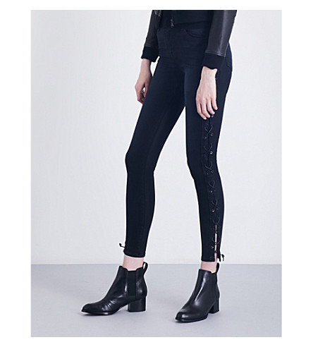 J BRAND Maria lace-up skinny high-rise coated jeans (Hex+coated