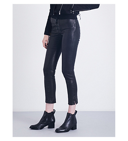 J BRAND Lace-up skinny stretch-leather trousers (Black