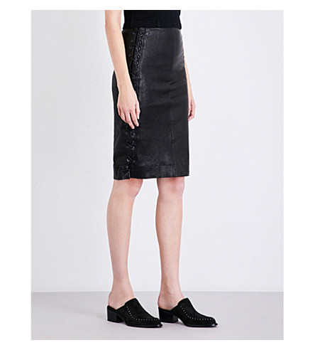 J BRAND FASHION Lace-up leather pencil skirt (Black