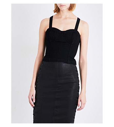 J BRAND FASHION Bustier stretch-cotton top (Black+ash