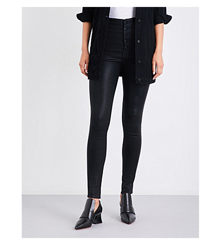 J BRAND Natasha super high-rise skinny coated jeans (Fearless