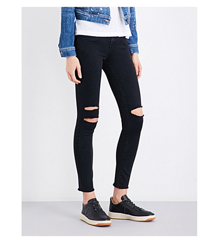 J BRAND 8227 skinny cropped mid-rise jeans (Black+mercy