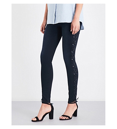 J BRAND Maria lace-up skinny high-rise jeans (Black