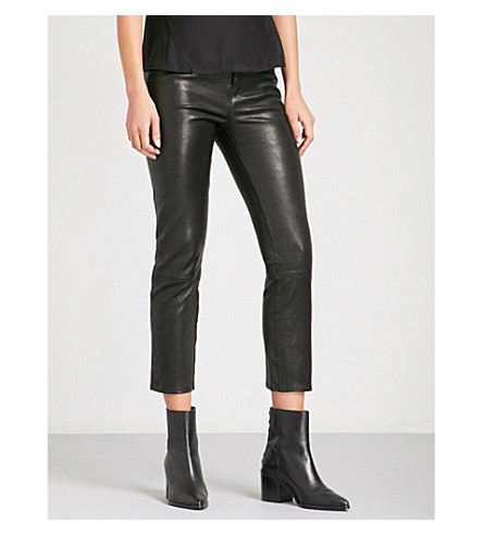 J BRAND Ruby straight cropped high-rise leather jeans (Black