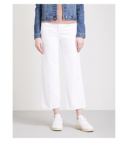 J BRAND Joan wide-leg cropped high-rise jeans (Optic+white