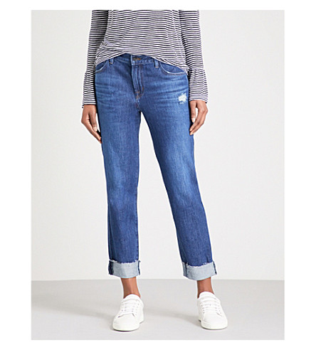 J BRAND Johnny boyfriend-fit straight mid-rise jeans (Double+take