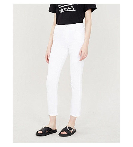 J BRAND Ruby straight cropped high-rise jeans (Blanc