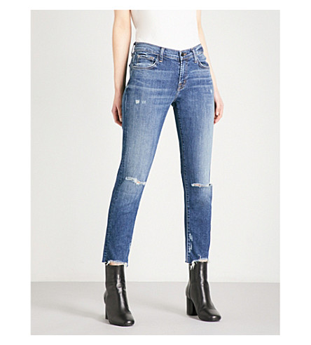 J BRAND Sadie straight-leg mid-rise jeans (Revoke+destruct