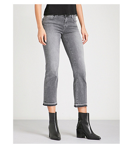 J BRAND Selena released-hem bootcut cropped mid-rise jeans (Earl+grey