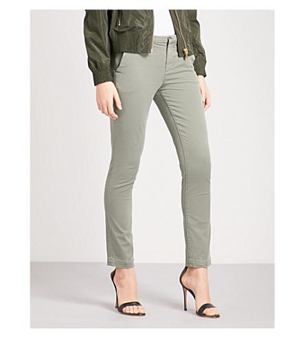 J BRAND Clara skinny mid-rise stretch-cotton trousers (Castor+grey