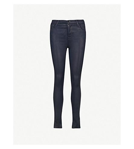 J BRAND Maria skinny high-rise coated jeans (Electric+blue
