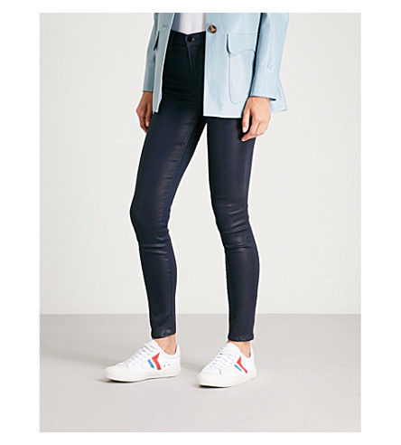 J BRAND Maria skinny high-rise coated jeans (Electric+blue