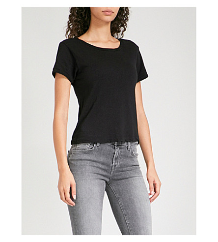 J BRAND FASHION Nerd linen and cotton-blend T-shirt (Black